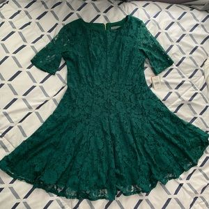 Short Sleeve Floral Lace Fit & Flare Dress